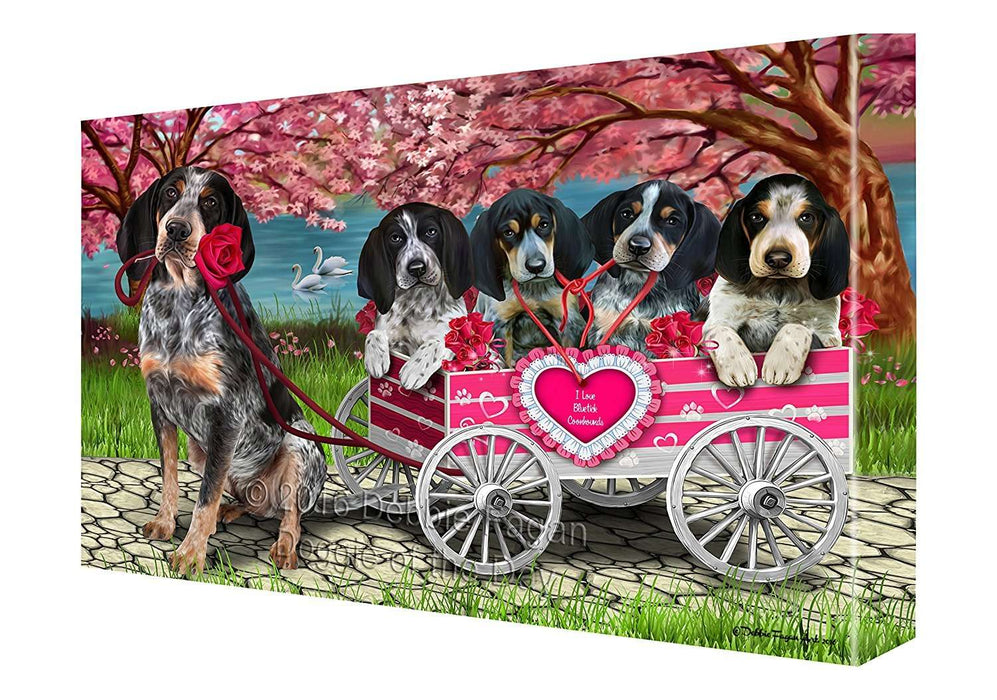 I Love Bluetick Coonhound Dogs in a Cart Canvas Wall Art