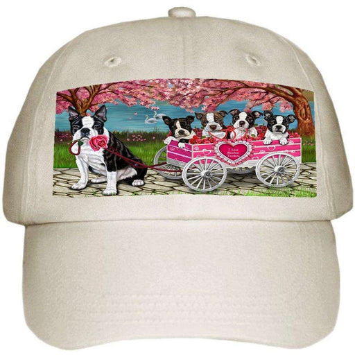 I Love Boston Terrier Dogs in a Cart Ball Hat Cap Off White (White)