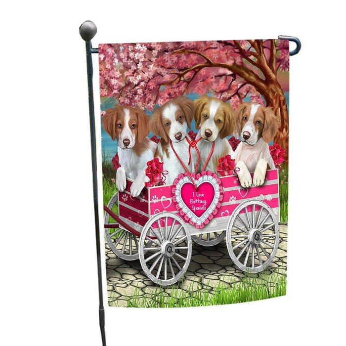 I Love Brittany Spaniel Dogs in a Cart Garden Flag