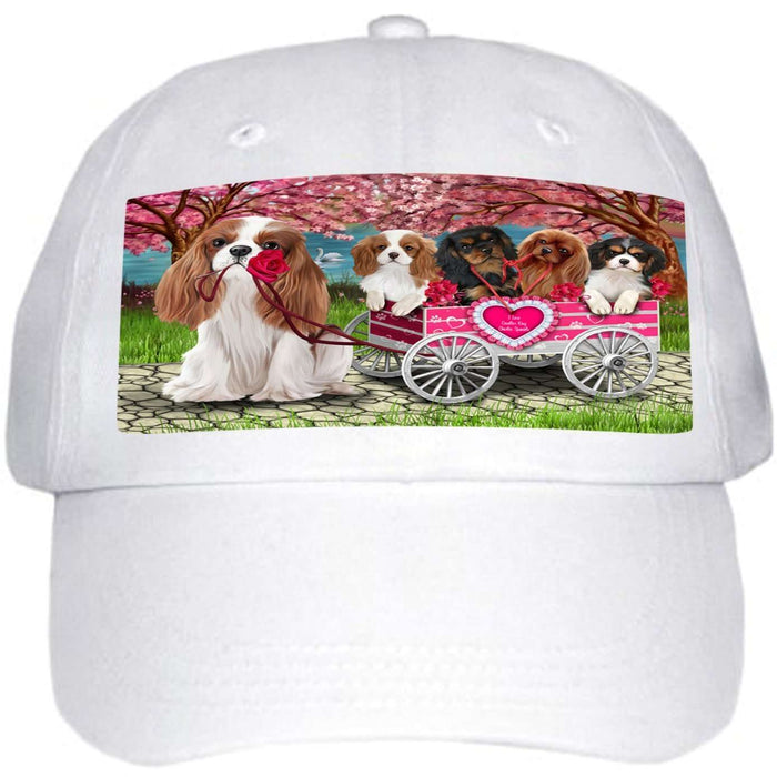 I Love Cavalier King Charles Spaniel Dogs in a Cart Ball Hat Cap