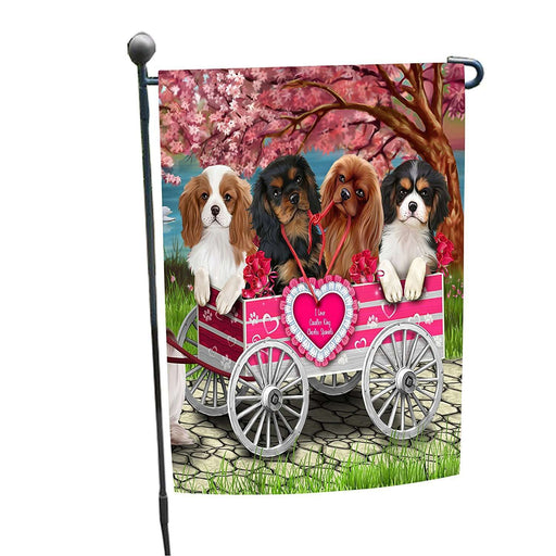 I Love Cavalier King Charles Spaniel Dogs in a Cart Garden Flag