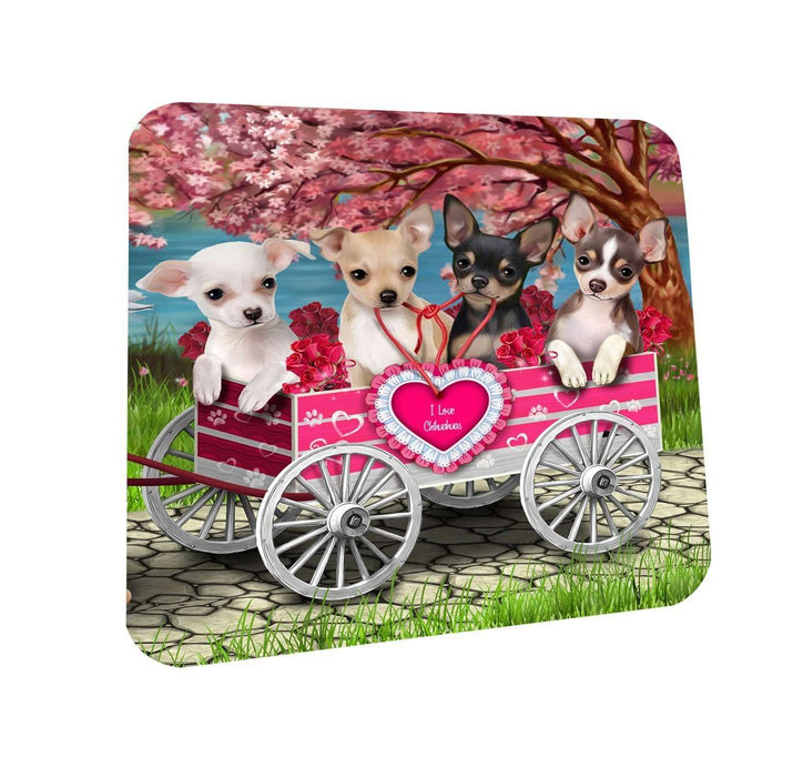 I Love Chihuahua Dogs in a Cart Coasters Set of 4