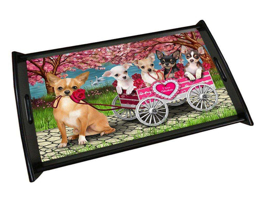 I Love Chihuahuas Dog in a Cart Wood Serving Tray TRP48123