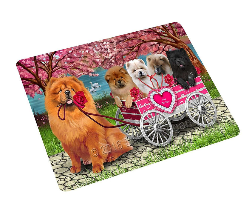 I Love Chow Chow Dogs in a Cart Large Refrigerator / Dishwasher Magnet