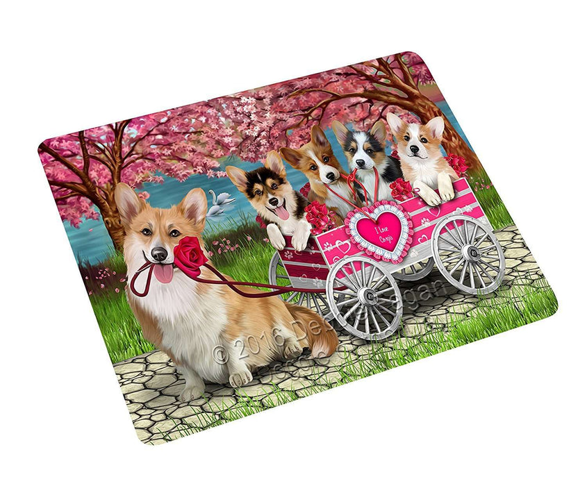 I Love Corgi Dogs in a Cart Tempered Cutting Board