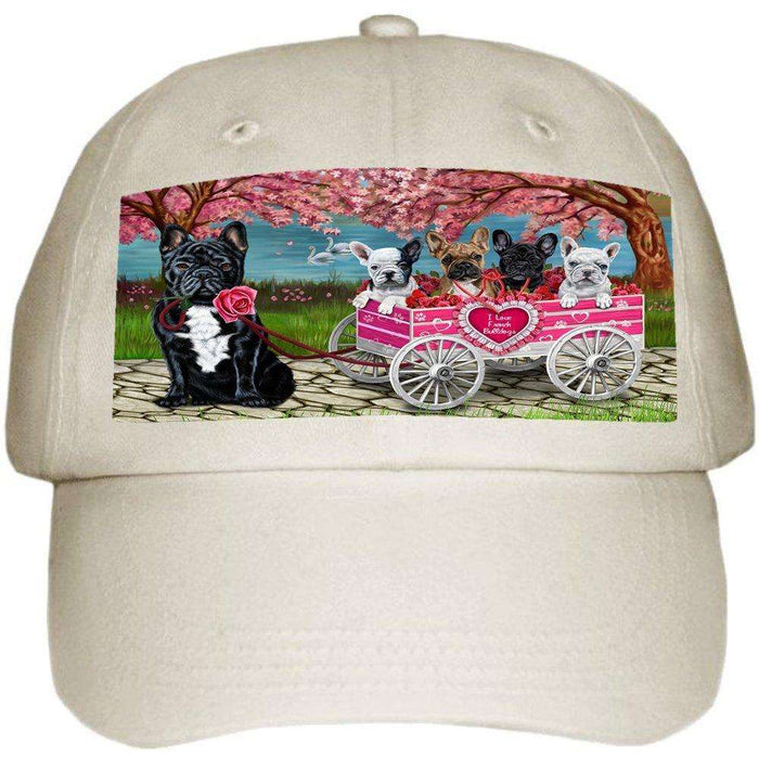 I Love French Bulldog Dogs in a Cart Ball Hat Cap Off White