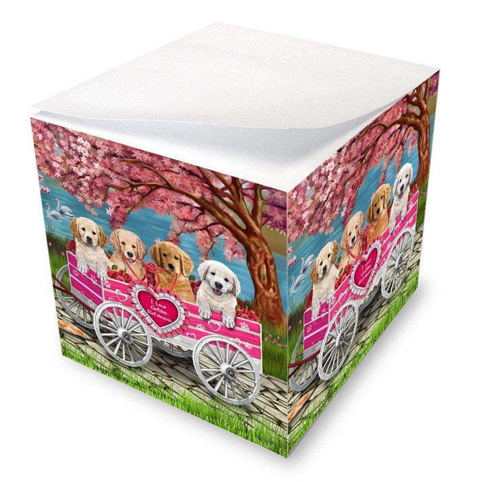 I Love Golden Retrievers Dogs in a Cart Note Cube