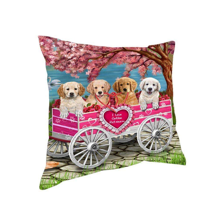 I Love Golden Retrievers Dogs in a Cart Throw Pillow