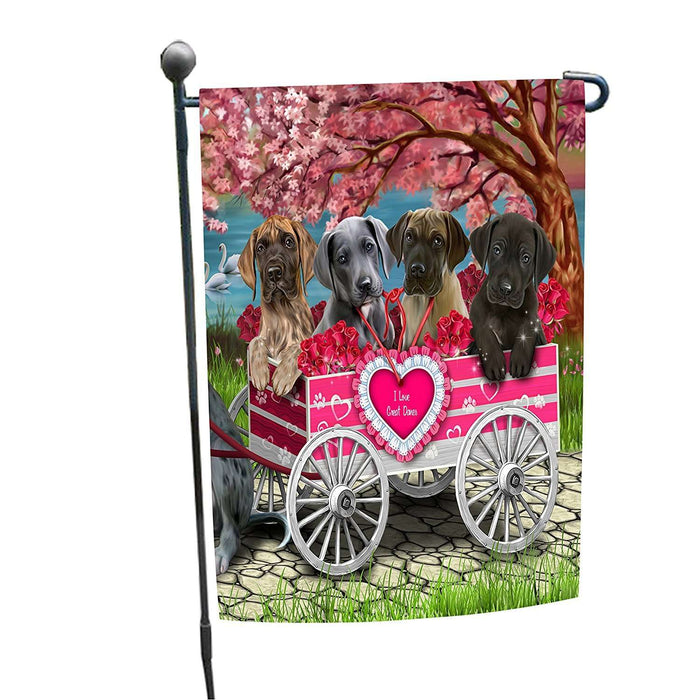 I Love Great Dane Dogs in a Cart Garden Flag
