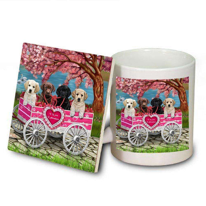 I Love Labrador Dogs in a Cart Mug and Coaster Set