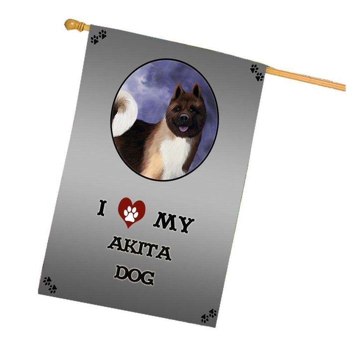I Love My Akita Dog House Flag