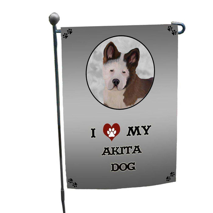 I Love My Akita Puppy Dog Garden Flag