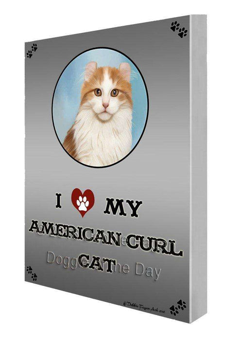 I Love My American Curl Cat Painting Printed on Canvas Wall Art