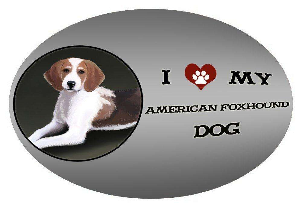 I Love My American Foxhound Dog Oval Envelope Seals