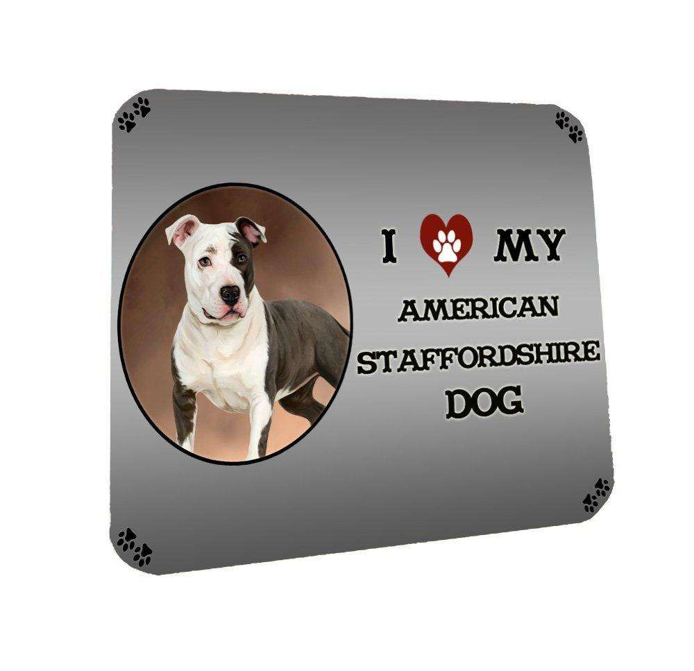 I Love My American Staffordshire Dog Coasters Set of 4