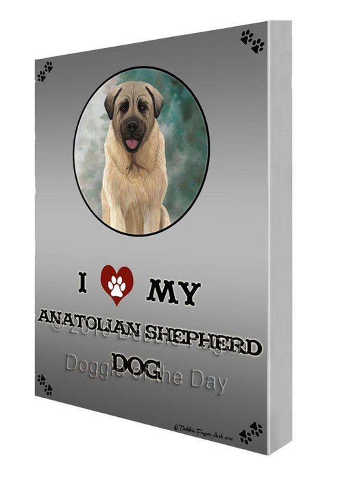 I Love My Anatolian Shepherd Dog Painting Printed on Canvas Wall Art