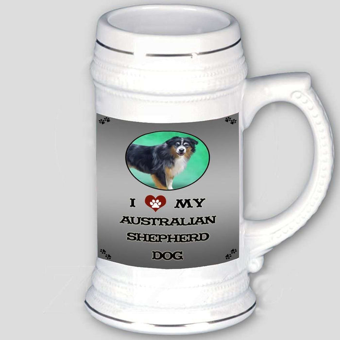 I Love My Australian Shepherd Dog Beer Stein