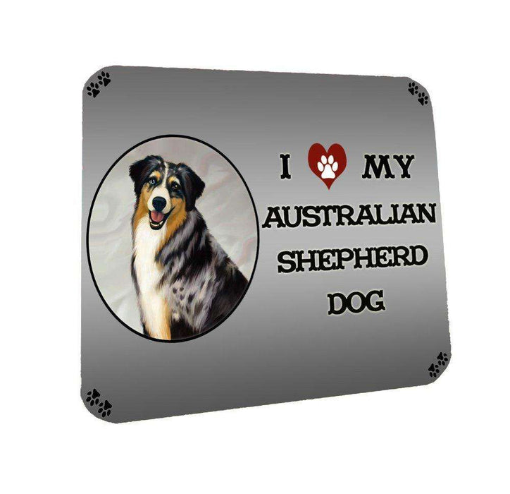 I Love My Australian Shepherd Dog Coasters Set of 4