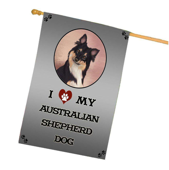 I Love My Australian Shepherd Dog House Flag