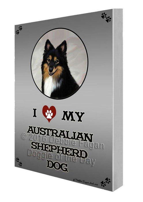 I Love My Australian Shepherd Dog Painting Printed on Canvas Wall Art
