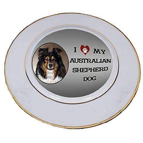 I Love My Australian Shepherd Dog Porcelain Plate