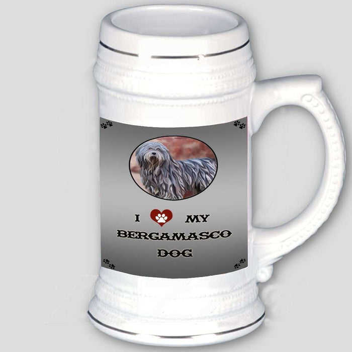 I Love My Bergamasco Dog Beer Stein
