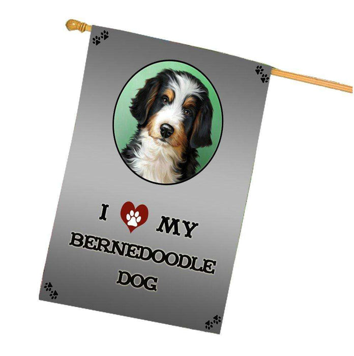 I Love My Bernedoodle Dog House Flag