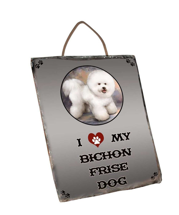 I Love My Bichon Frise Dog Wall Décor Hanging Photo Slate