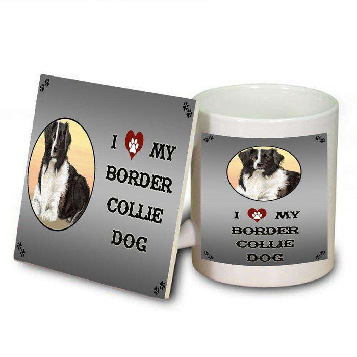 I Love My Border Collie Dog Mug and Coaster Set