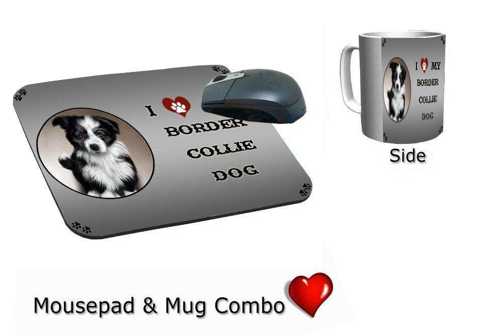 I Love My Border Collie Dog Mug & Mousepad Combo Gift Set