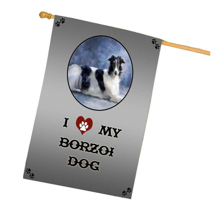 I Love My Borzoi Dog House Flag