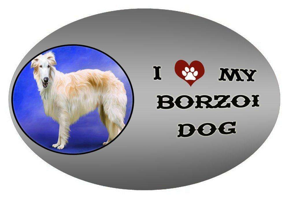 I Love My Borzoi Dog Oval Envelope Seals