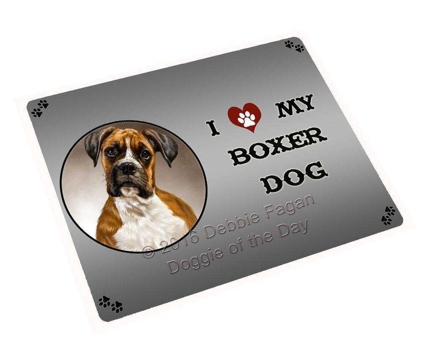 I Love My Boxer Dog Art Portrait Print Woven Throw Sherpa Plush Fleece Blanket