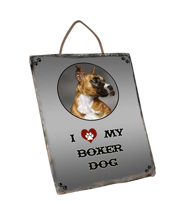 I Love My Boxer Dog Wall Décor Hanging Photo Slate
