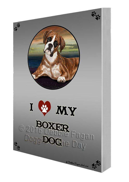 I Love My Boxers Dog Painting Printed on Canvas Wall Art