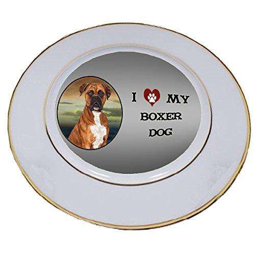 I Love My Boxers Dog Porcelain Plate