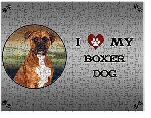 I Love My Boxers Dog Puzzle with Photo Tin