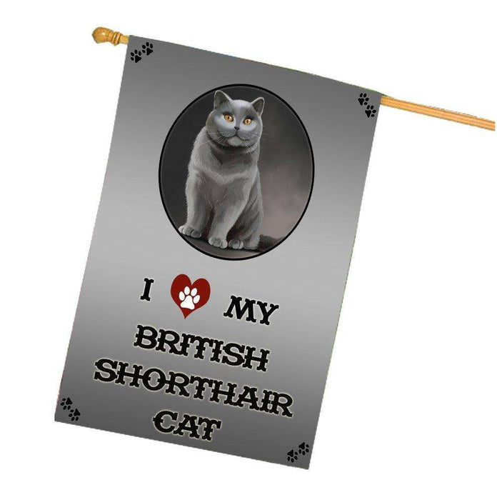 I Love My British Shorthair Cat House Flag