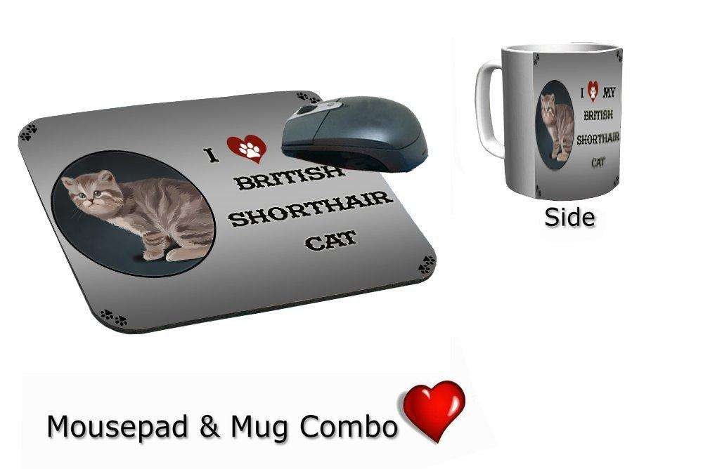 I Love My British Shorthair Cat Mug & Mousepad Combo Gift Set