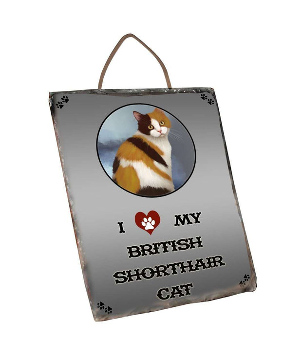 I Love My British Shorthair Cat Wall Décor Hanging Photo Slate