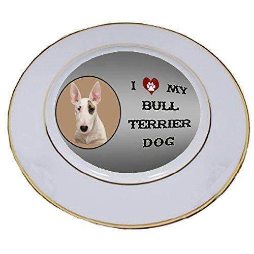 I Love My Bull Terrier Dog Porcelain Plate