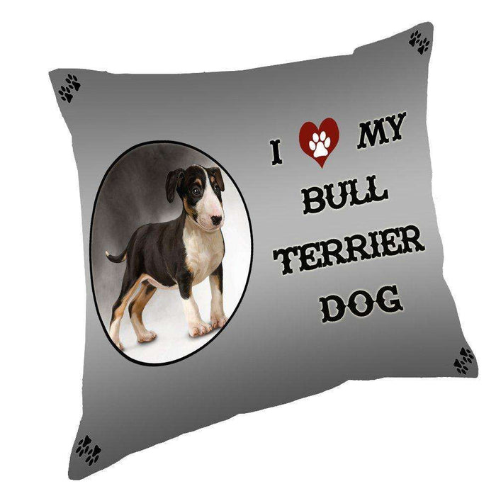 I Love My Bull Terrier Dog Throw Pillow