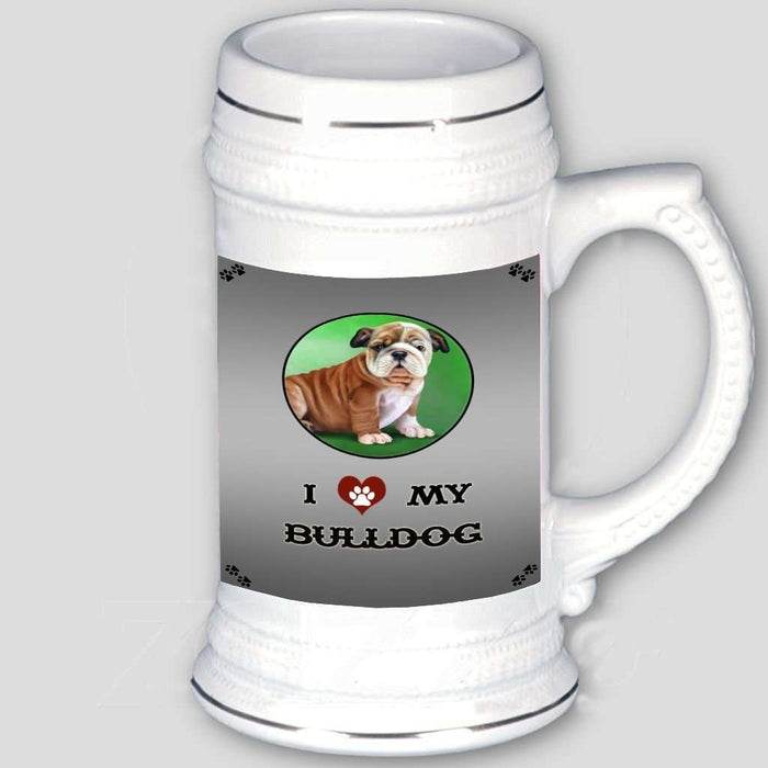 I Love My Bulldog Puppy Beer Stein