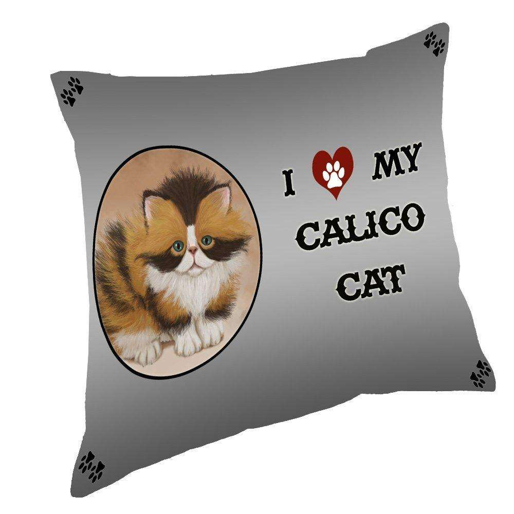 I Love My Calico Cat Throw Pillow