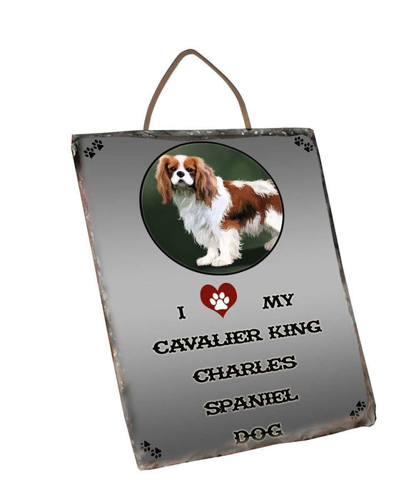 I Love My Cavalier King Charles Spaniel Dog Wall Décor Hanging Photo Slate