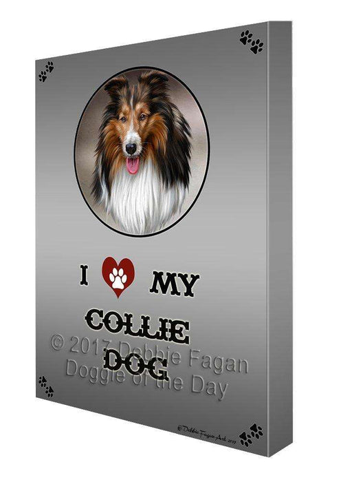 I Love My Collie Dog Canvas Wall Art D277