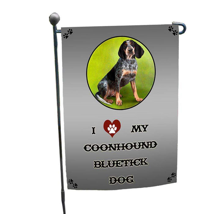I Love My Coonhound Bluetick Dog Garden Flag