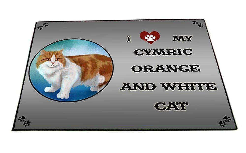 I Love My Cymric Orange And White Cat Indoor/Outdoor Floormat