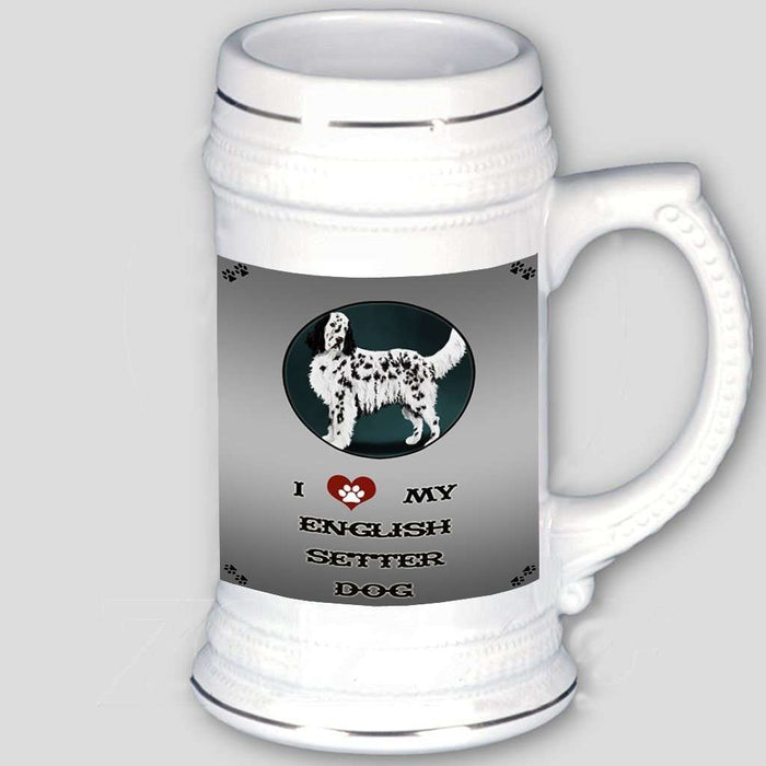 I Love My English Setter Dog Beer Stein