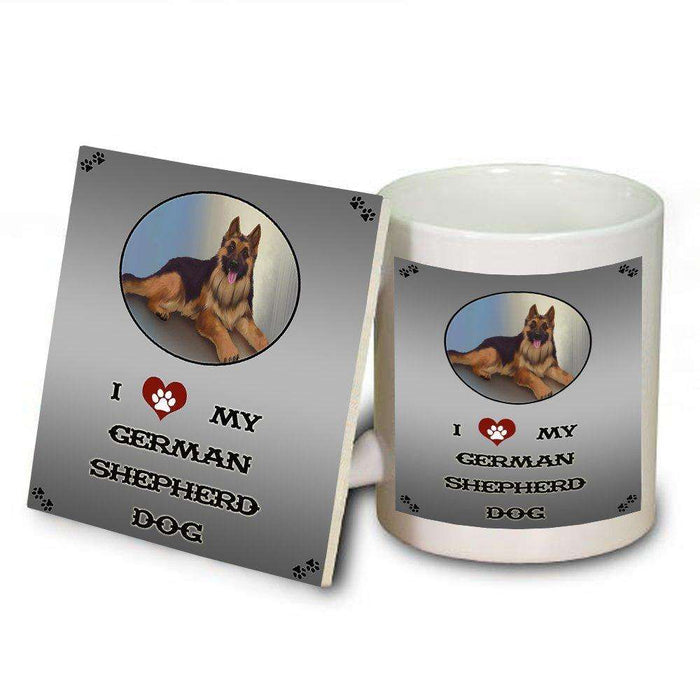 I Love My German Shepherd Adult Dog Mug and Coaster Set